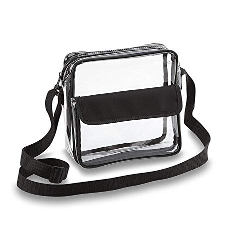 Clear Crossbody Messenger Shoulder Bag with Adjustable Strap NFL Stadium Approved Transparent -