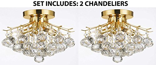Set of 2 – Gold Finish Crystal Chandelier with 4 Lights Lighting