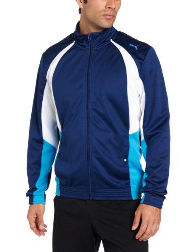 PUMA Men's Mesh Track Jacket, Estate Blue/White/Dresden Blue, Small