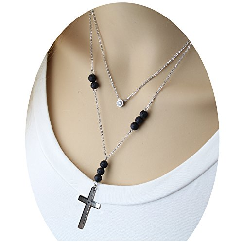 endant Necklace - Handmade Double Layer Dainty Black Volcanic Essential Oils Diffuser Decorative Lady Memorial Religious Easter Jesus Metal Cross Necklace Costume for Teen Girls (Easter Cross Necklace)