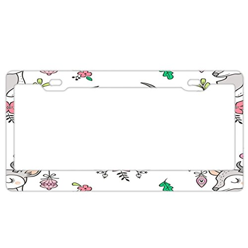 Christmas Deer Head With Ornaments & Floral On White License Plate Frame For Women/Man,Car Licenses Plate Covers Waterproof License Tag Stainless Steel Metal License Plate Frame