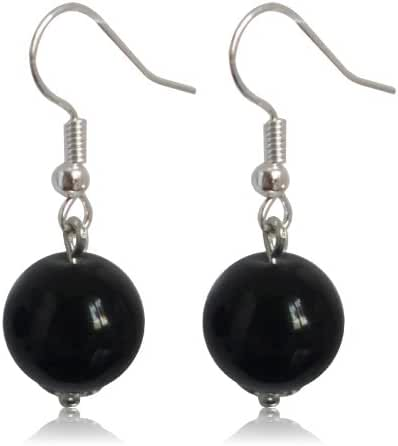 GiftJewelryShop 12MM Sterling Silver Plated Black Round Crystal Glass Bead Dangle Earrings