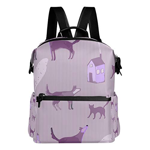 (TARTINY Seamless Pattern Cat Dog Little House Laptop Backpack Leather Strap School Bag Outdoor Travel Casual Daypack)