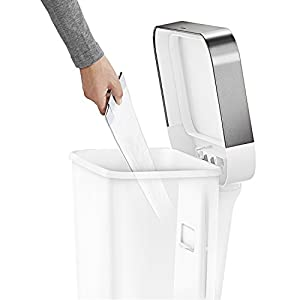 simplehuman 45 Liter / 12 Gallon Rectangular Kitchen Step Trash Can with Liner Pocket, White Plastic With Stainless Steel Liner Rim And Step Pedal