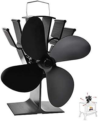 BUYGOO Ventilador eléctrico de 4 Palas para Estufa de leña/leña Estufa pequeña y Fuerte Ventilador de Estufa silenciosa Ventilador de leña/leña Chimenea: Amazon.es: Electrónica