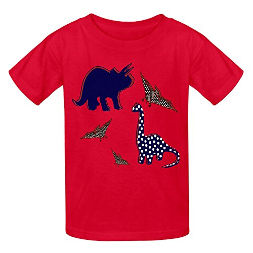 dinosaur-cute-youth-crew-neck-personalized-t-shirts-red