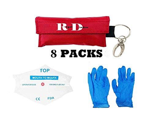 (CPR Mask Emergency Kit Rescue Face Shields with Gloves One-Way Valve Breathing Barrier with Pair of Powder Free Nitrile Gloves for First Aid and AED Training)