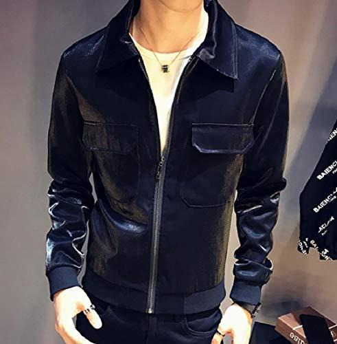 Down XINHEO Black Soft Tops Coats Zipper Turn Mens Collar Shiny Casual Jacket g7w7BCrYq