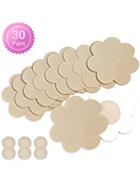30 Pairs Nipple Breast Covers, Sexy Breast Pasties Adhesive Bra Disposable with 3 Round Beige