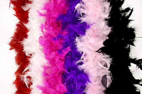 Feather Boa Party Supplies 6 Pack- Vibrant Colors 40 Gram Party Favors by Monford ()