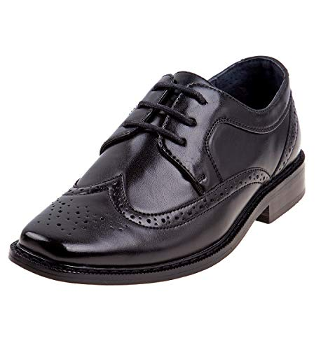 Joseph Allen Boy's Wing Tip Oxford Dress Shoe, Black, 2 M US Little Kid