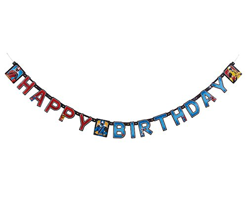 American Greetings Power Rangers Ninja Steel Birthday party Banner, Black, 91