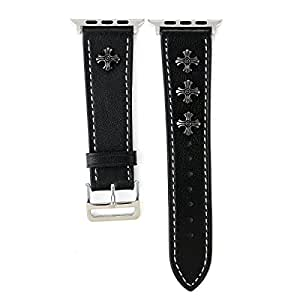 Apple Watch Band 42mm, iWatch Leather Band Strap Wristband with Chrome Hearts for 42mm Apple Watch Series 3/Series 2/Series 1 (42mm,Black)