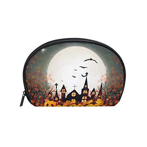 ALAZA Halloween Moon Half Moon Cosmetic Makeup Toiletry Bag Pouch Travel Handy Purse Organizer Bag for Women Girls