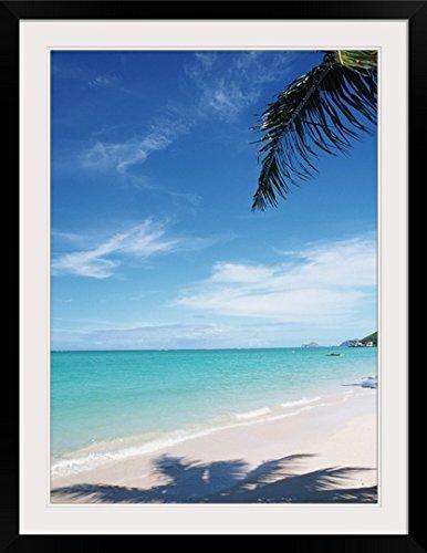 GreatBIGCanvas ''Blue sky and sea at Kailua Beach, O'ahu, Hawaii'' Photographic Print with Black Frame, 26'' x 36'' by greatBIGcanvas