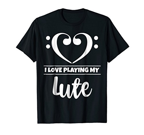 Double Bass Clef Heart I Love Playing My Lute T-Shirt
