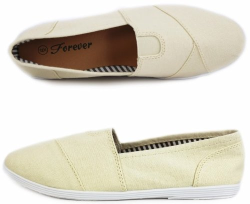 MURPHY Canvas Round Toe Athletic Casual Layered Flexible Flats Beige kbwP5