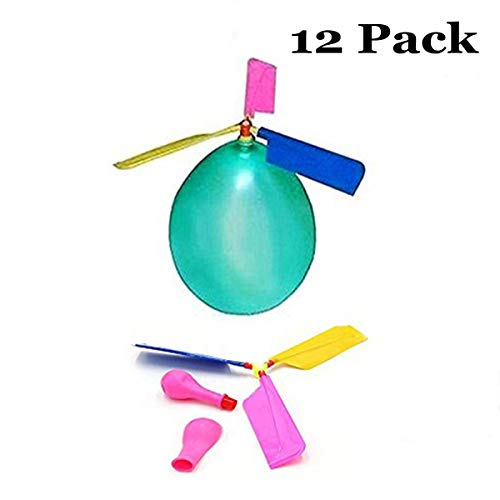 HoFire 12 Pcs Kids Balloon Helicopter Airplane 24 Pcs Balloon Powered Helicopter Flying Toy for Childrens Day Gift Party Favor Easter Basket, Stocking Stuffer or Birthday