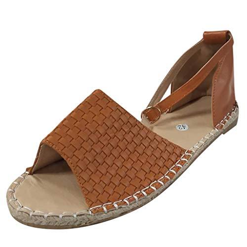 Answerl Womens Espadrille Flat Sandals Ankle Strap Open Toe Summer Flatform Sandals Flat Sandals for Women Brown