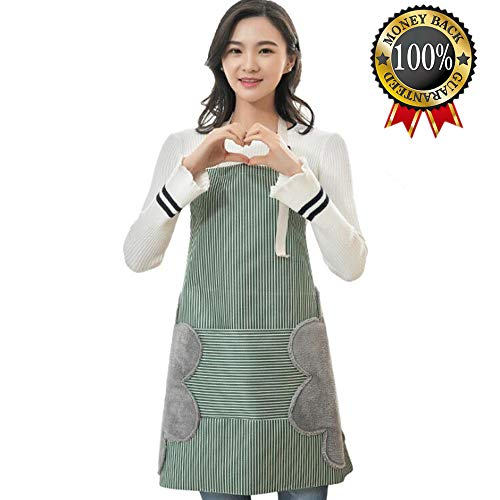 - Adjustable Bib Apron with Pockets - 2 Side Coral Velvet Towels Stitched Durable Pinstripe Waterproof Cooking Aprons Suitable for Home Kitchen, Grill, Restaurant Even Garden Craft Green