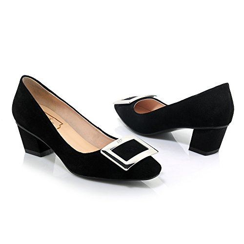 Minivog Chunky Mi-talon Boucle Pompe Chaussures Noir