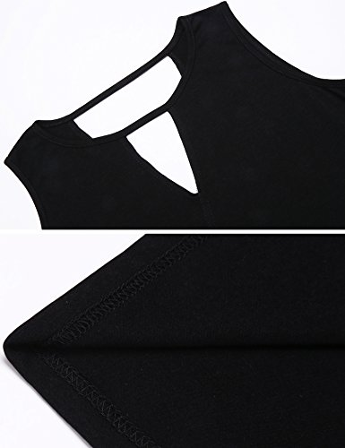 Poetsky Womens Sleeveless Workout Shirt Open Back Long Tunic Tops (S, Black) by Poetsky (Image #5)