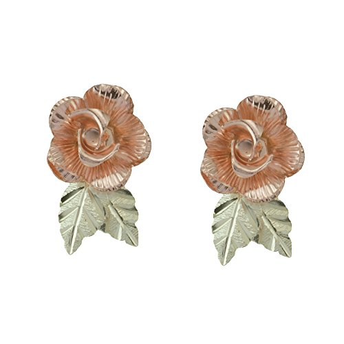 10k Black Hills Gold Rose Earrings with 12k Gold Leaves. Black Hills Gold Rose Gold Earrings