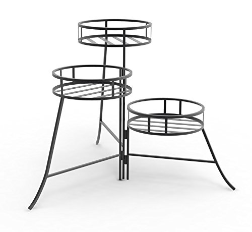 Panacea 86715 Plant Stand with Contemporary Design and 3-Tier Round Fold Out, 21-Inch Height, Black ()