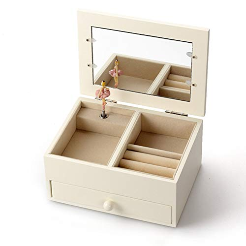 AIBAB Wooden Jewelry Box Music Box Birthday Present Jewelry Box with Photo Frame Multifunction with Mirror B
