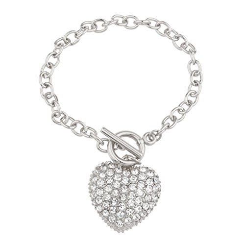 Toggle Heart Large (Lux Accessories Pave Heart Toggle Chain Link Bracelet.)