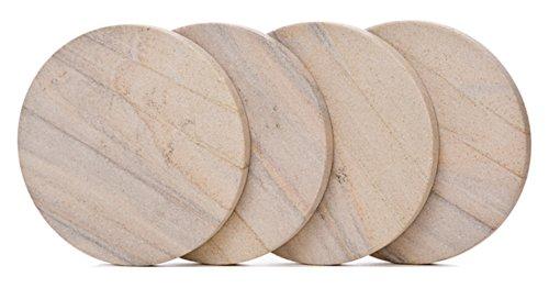 Absorbent Coasters Sandstone Natural (4 Set of 4 Inch Round Durable Natural Radiant Sandstone Coasters)
