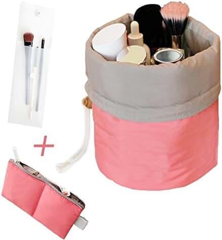 Makeup bag - Mr.Pro Waterproof Travel Kit Organizer Bathroom Storage Cosmetic Bag Carry Case Toiletry Bag (Cylinder Red)