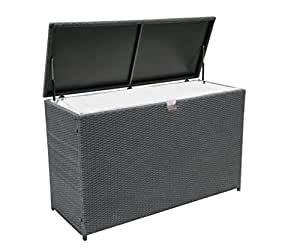 PATIOROMA Outdoor Aluminum Frame Wicker Cushion Storage Bin Deck Box, Gray