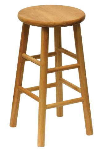 Winsome Wood 24-Inch Beveled Seat Barstool with Natural Finish, Set of 2 - smallkitchenideas.us