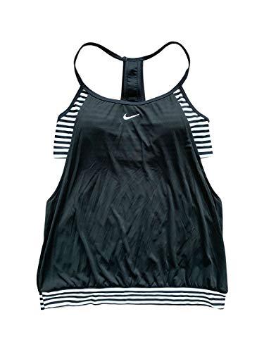 Nike Womens Laser Sport Tankini Top & Bottom 2-Piece Swimsuit Athletic Swim Suits (X-Large, Black)