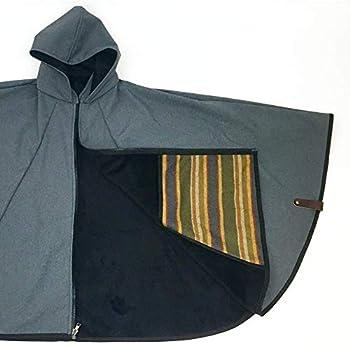 Image of Belmont Blanket The Treadway Adventure Cape - Handsewn in Portland, USA | Waterproof Steel Grey with Black Blankets