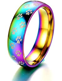 Stainless Steel Rainbow Rings Paw Print Engagement Promise Rings Eternity Band 8mm