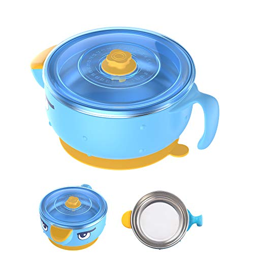 Baby Bowl with Lid and Suction Stay Put for 6-month Kids and Toddlers, Double-Wall Stainless Steel Bowl, Blue
