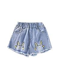 XINXINHAIHE Little Babys Girls Denim Pants Light Color Cotton Pants Rabbits Pattern With Beautiful Tassels Casual Elastic Waist Playwear Girls Daily Outfit Fashion Wild Casual Girls Denim Shorts