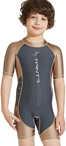DIVE&SAIL Swimsuit Girls Boys Diving Suit Short Sleeve Back Zipper One Piece  Thermal UV Protection Youth Swim Wetsuit Gray Coffee S: Amazon.com.au:  Fashion