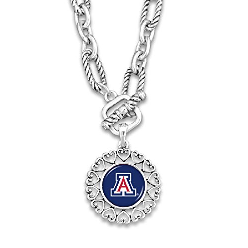 FTH Arizona Wildcats Silver Tone Necklace With Round Logo Charm Outlined in Hearts