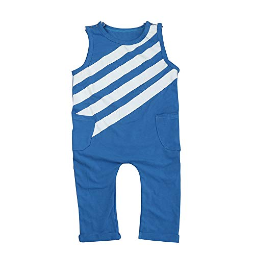 ❤️ Mealeaf ❤️ Newborn Infant Toddler Baby Boy Striped Jumpsuit Romper Playsuit Outfits Clothes(Blue,90) ()