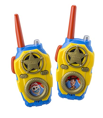 eKids Toy Story 4 FRS Walkie Talkies with Lights and Sounds Kid Friendly Easy to Use