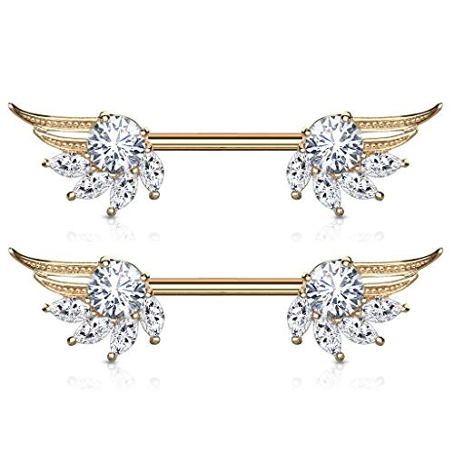 Pierced Owl CZ Crystal Angel Wing Nipple Barbells in 316L Stainless Steel, Sold as a Pair (Rose Gold -