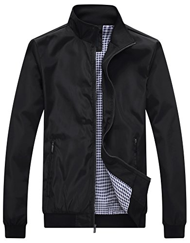 Wantdo Men's Lightweight Bomber Jacket Fall Windbreaker Casual Sport Zip Outerwear Black XX-Large by Wantdo