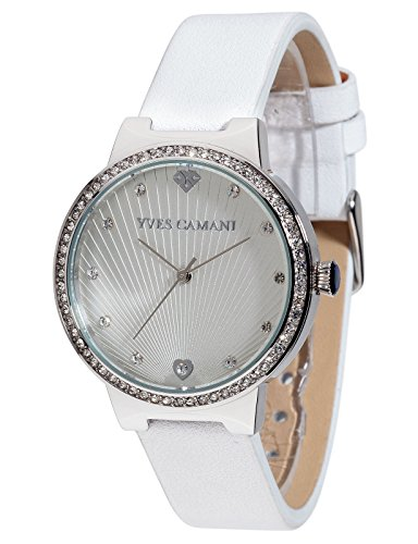 Yves Camani Toulon Women's Wrist Watch Quartz Analog Silver Dial Stainless Steel Casing White Leather Strap