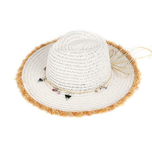 Women Wide Side 100% Raffia Straw Cap, Adjustable Size Beach Sun Hat Suitable for Outdoor Hiking White