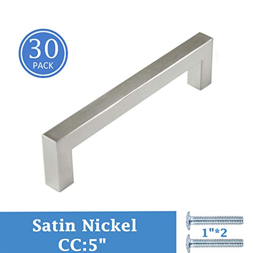 5in Hole Centers Stainless Steel Kitchen Drawer Pulls, Satin Nickel Cabinets Drawers Handles, Square Bar Bathroom Drawers Bedroom Wardrobe Handles, 50 Pack