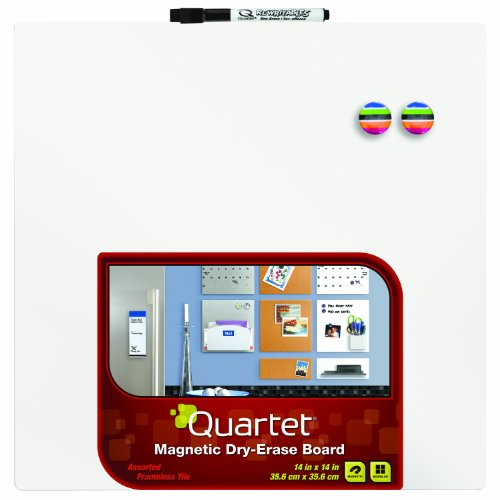 Quartet Magnetic Dry-Erase Board Tile, 14 x 14 Inches, Frameless, White Surface (85402-WT) (14 Inch Dry Erase)