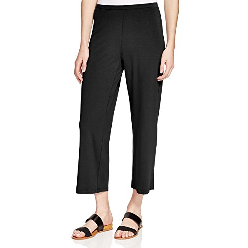 Eileen Fisher Womens Jersey Flat Front Cropped Pants Black PP